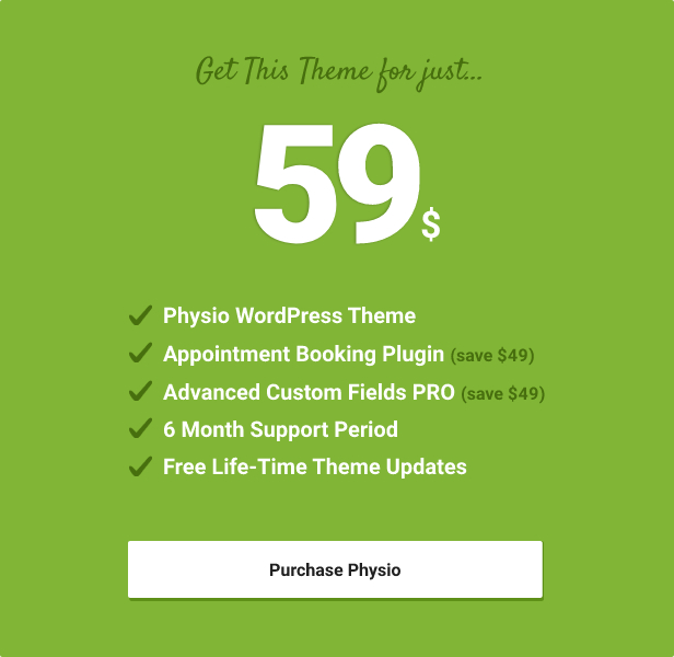 Physio WordPress Theme Included